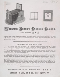 Advert for Warwick Brook's lantern camera
